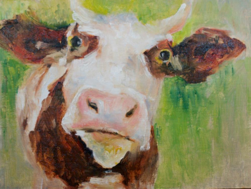 """""""Moo are you?"""" original fine art by Sue Churchgrant"""