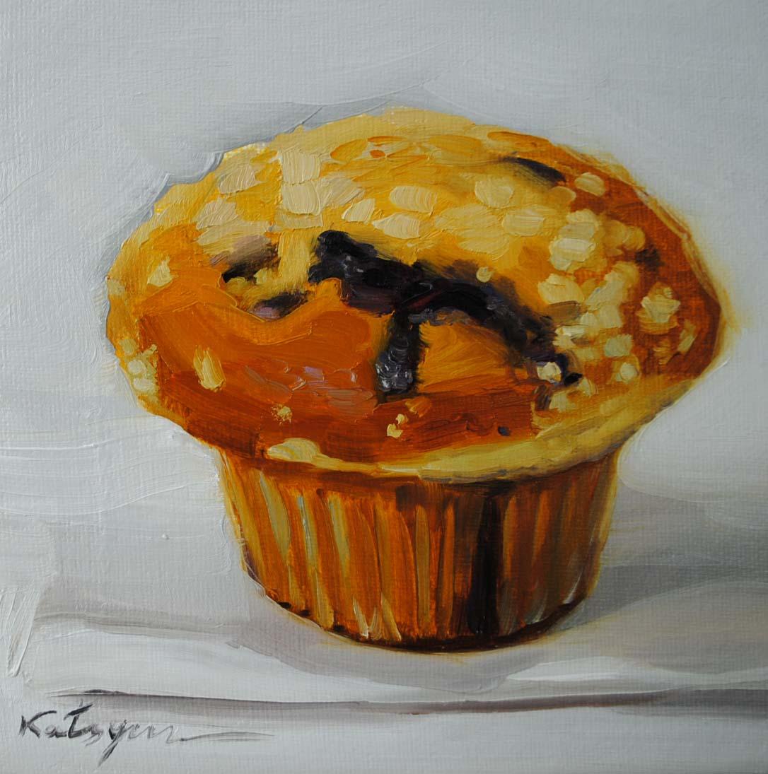 """Blueberry Muffin (White Background)"" original fine art by Elena Katsyura"
