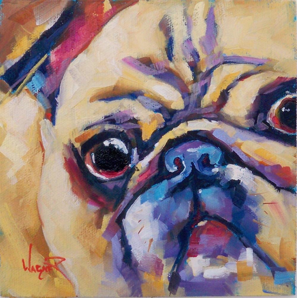 """AKC DOG - PUG CLOSEUP by OLGA WAGNER"" original fine art by Olga Wagner"