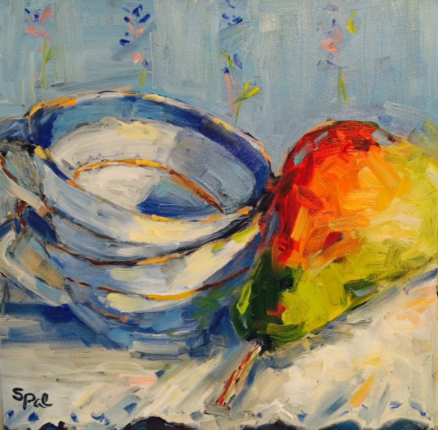 """China Cups and Pear"" original fine art by Suzy 'Pal' Powell"