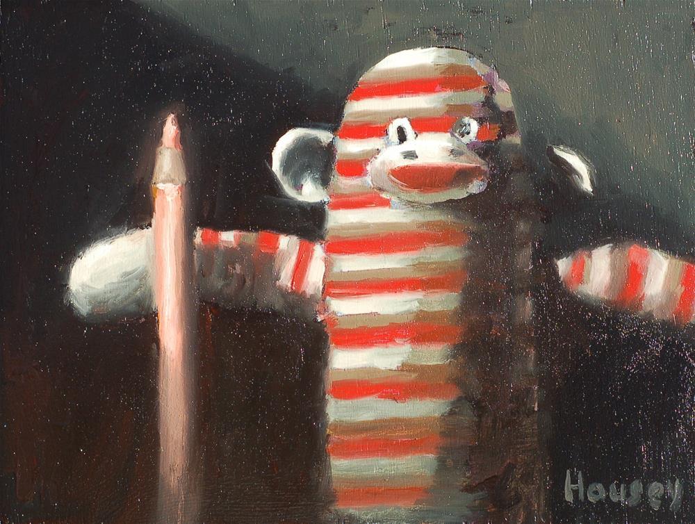 """""""Sock Monkey"""" original fine art by Bruce Housey"""