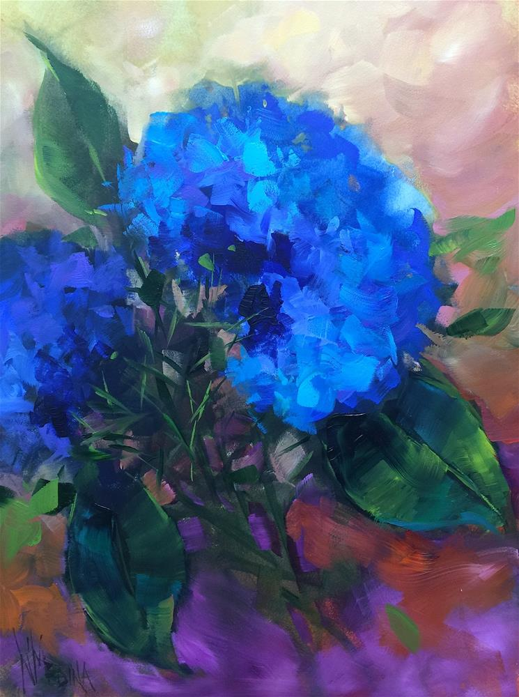 """Blue Flame Hydrangeas and My Annual Art Sale Has Begun - Nancy Medina Art Videos and Classes"" original fine art by Nancy Medina"