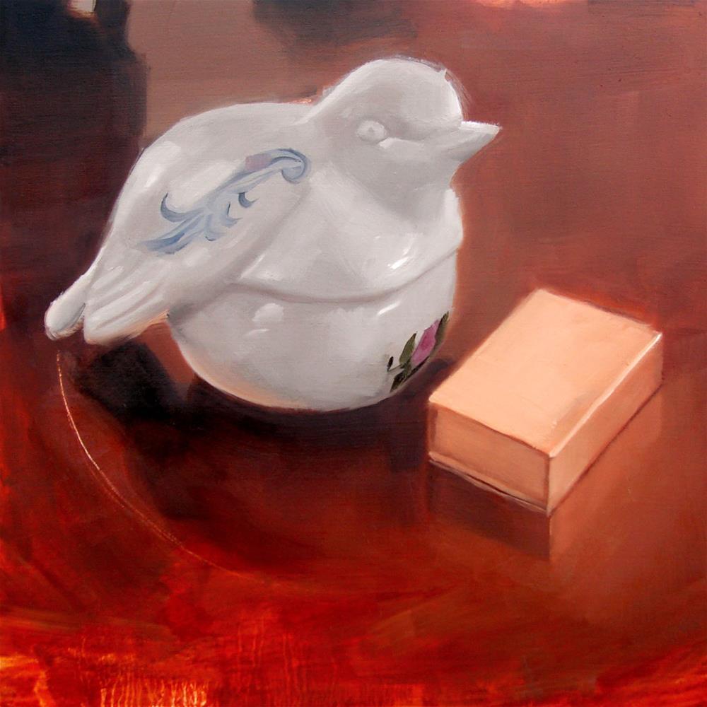 """Ceramic Turtle Dove Candle and Gold Matchbox (no.60)"" original fine art by Michael William"