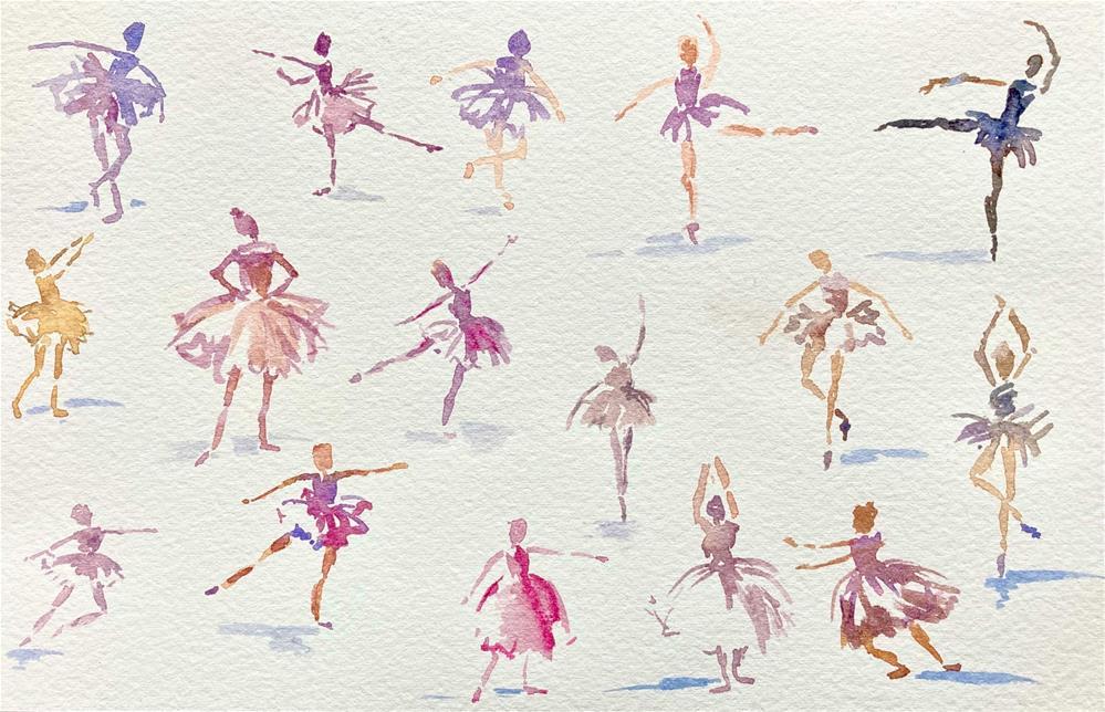 """Tiny Dancers, sketch"" original fine art by Judith Freeman Clark"