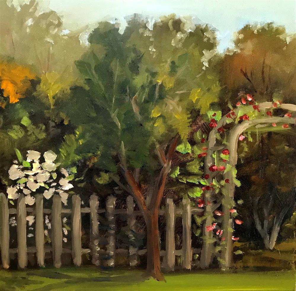 """roses on the trellis"" original fine art by Betty Argiros"