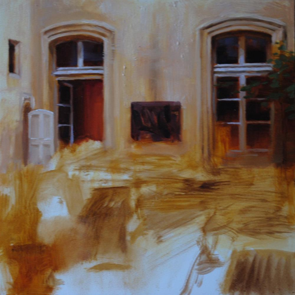 """""""Courtyard in Progress"""" original fine art by Elena Katsyura"""