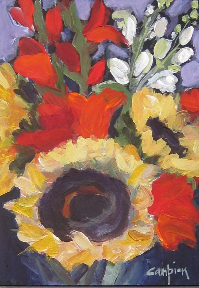 """106.  Market Bouquet, Sunflowers with Gladiolas and Snapdragons"" original fine art by Diane Campion"