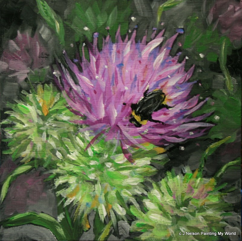"""Canadian Thistle and Bee"" original fine art by Jean Nelson"