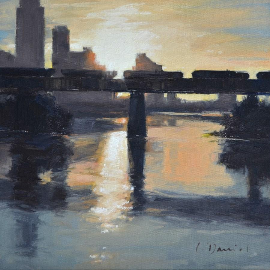 """Morning Train - No Place Like Home"" original fine art by Laurel Daniel"