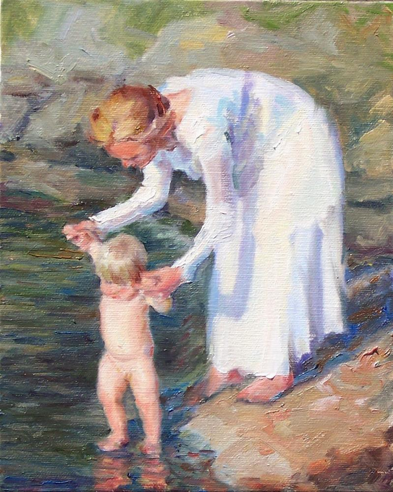 """First Dip,figures,oil on canvas,10x8,priceNFS"" original fine art by Joy Olney"