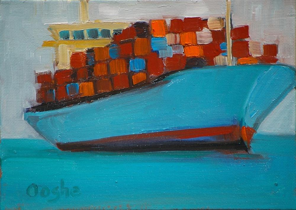 """Container Ship 1"" original fine art by Angela Ooghe"