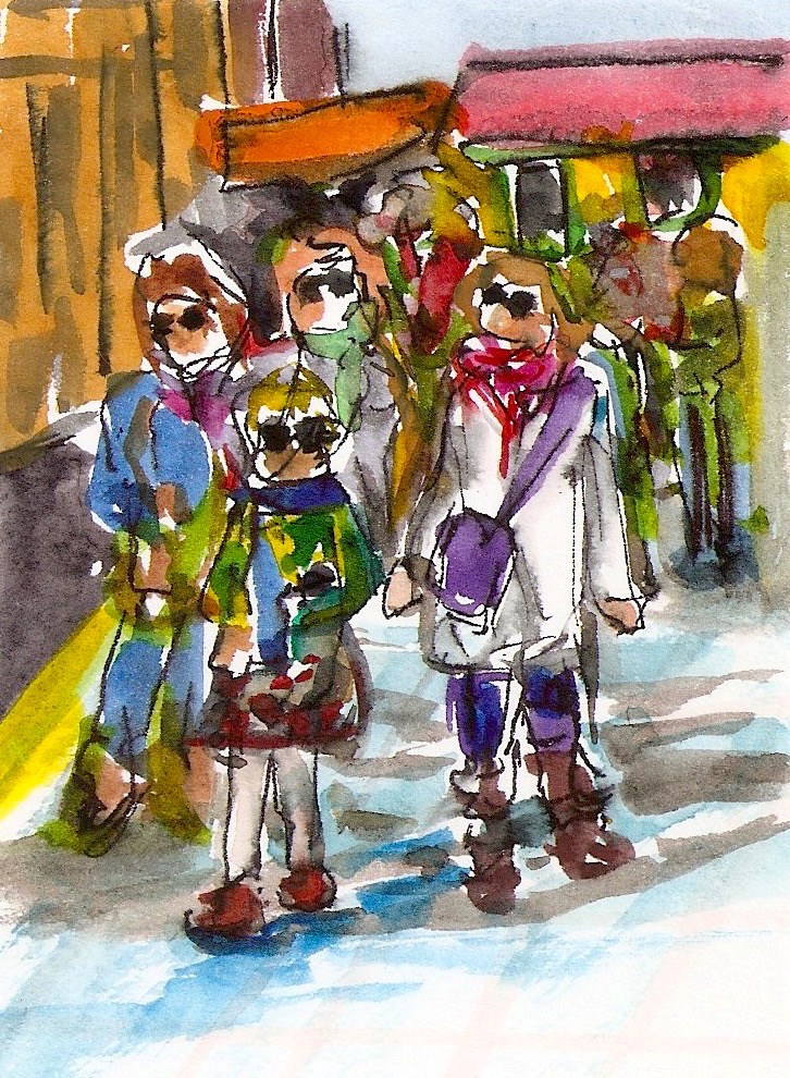 """ACEO Crowded Street Sunny Day Sunglasses Abstract WC Penny StewArt"" original fine art by Penny Lee StewArt"