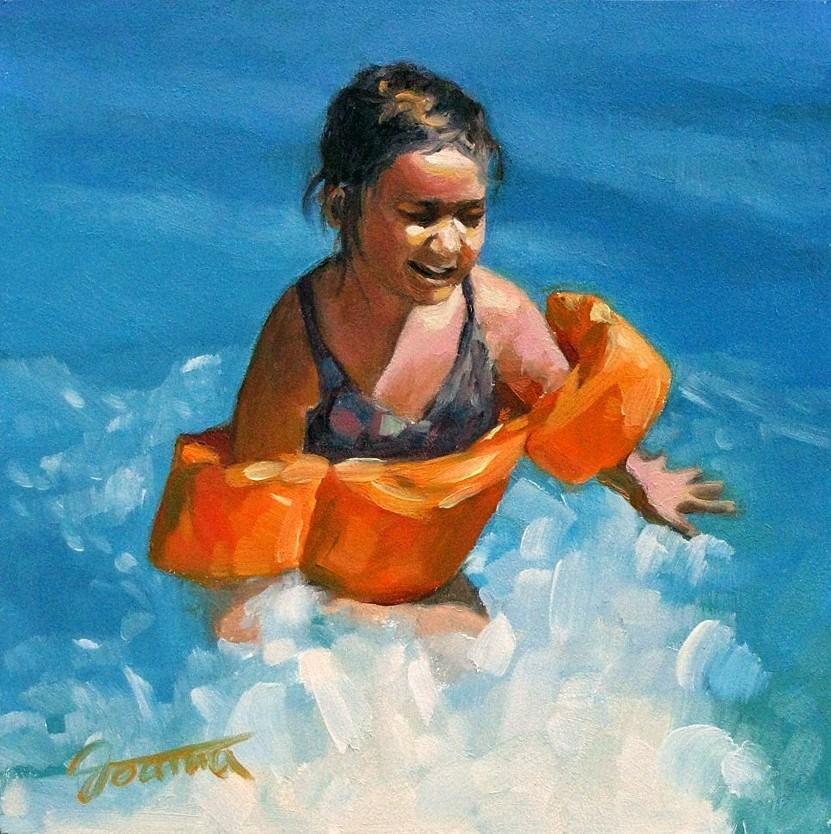 """Orange Floaties--Beach Babies Series"" original fine art by Joanna Bingham"