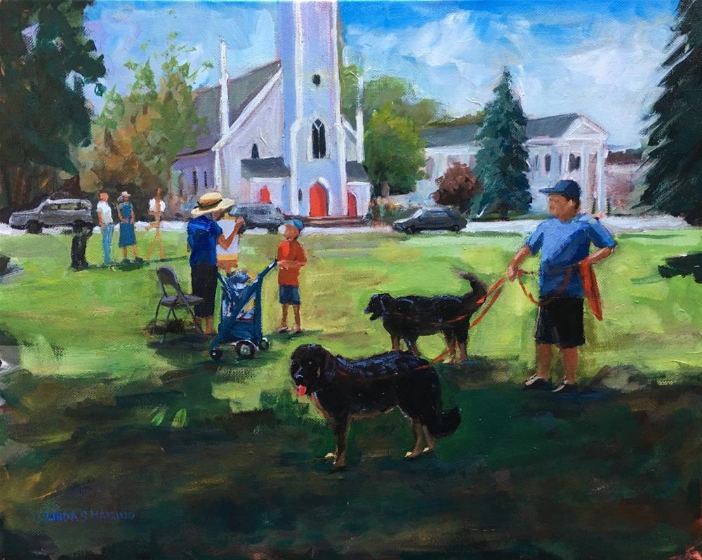 """Saturday on the Green in Branford"" original fine art by Linda Marino"