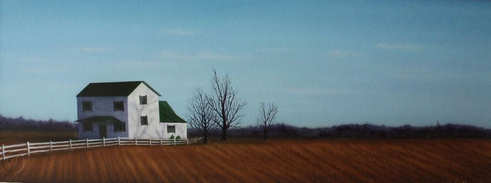 """Late Winter River Bottom Farm"" original fine art by Fred Schollmeyer"