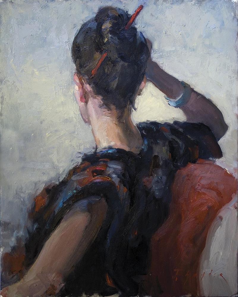 """""""Hairstick"""" original fine art by Julie Snyder"""