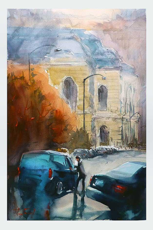 """Taxi"" original fine art by Jurij Frey"