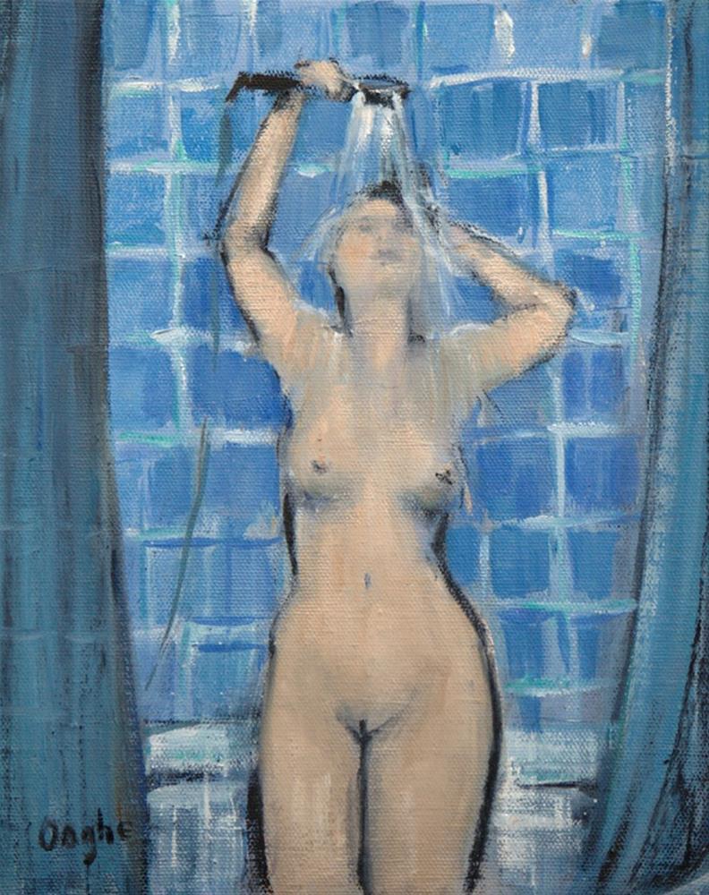 """Woman in Shower"" original fine art by Angela Ooghe"