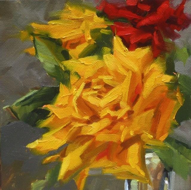 """Yellow Rose 3"" original fine art by Karen Werner"