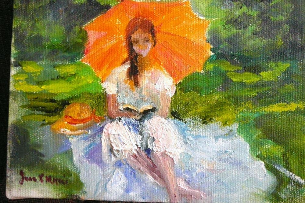 """Orange Parasol Summer Day"" original fine art by Jane Morac'E"