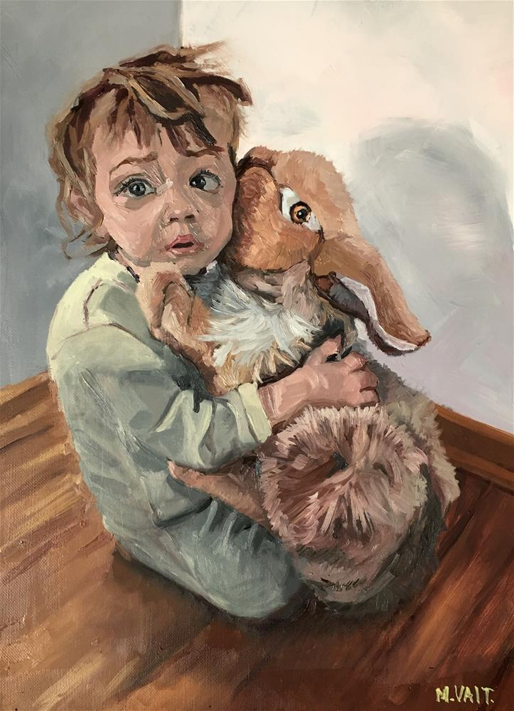 """Feels so good to hug a bunny sometimes"" original fine art by Milda Vaitiekunaite"