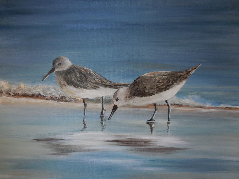 """Sandpipers"" original fine art by Terri Nicholson"