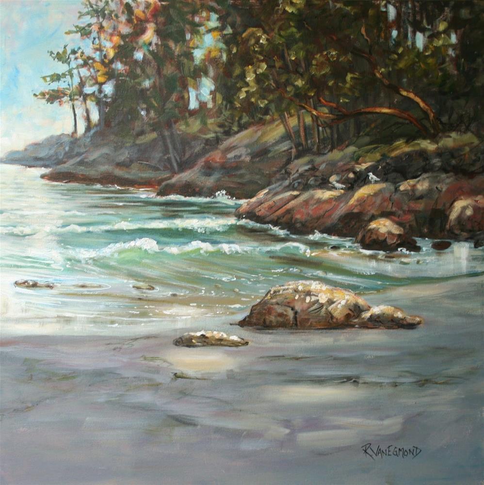 """""""Afternoon light-Weir's beach"""" original fine art by Ruth Van Egmond"""