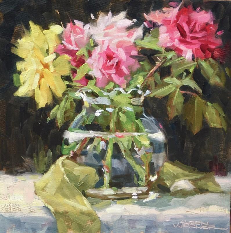 """""""Roses & Ribbon"""" original fine art by Karen Werner"""
