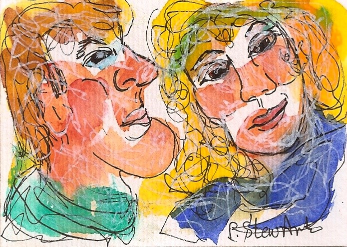 """ACEO He Whispers In Her Ear WC & Pen, Illustration, Whimsical Original Art"" original fine art by Penny Lee StewArt"