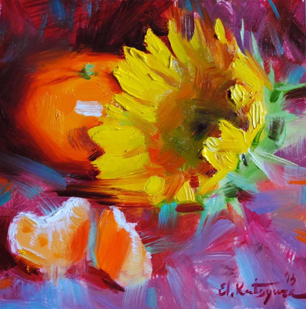 """Sunflower and Citrus"" original fine art by Elena Katsyura"
