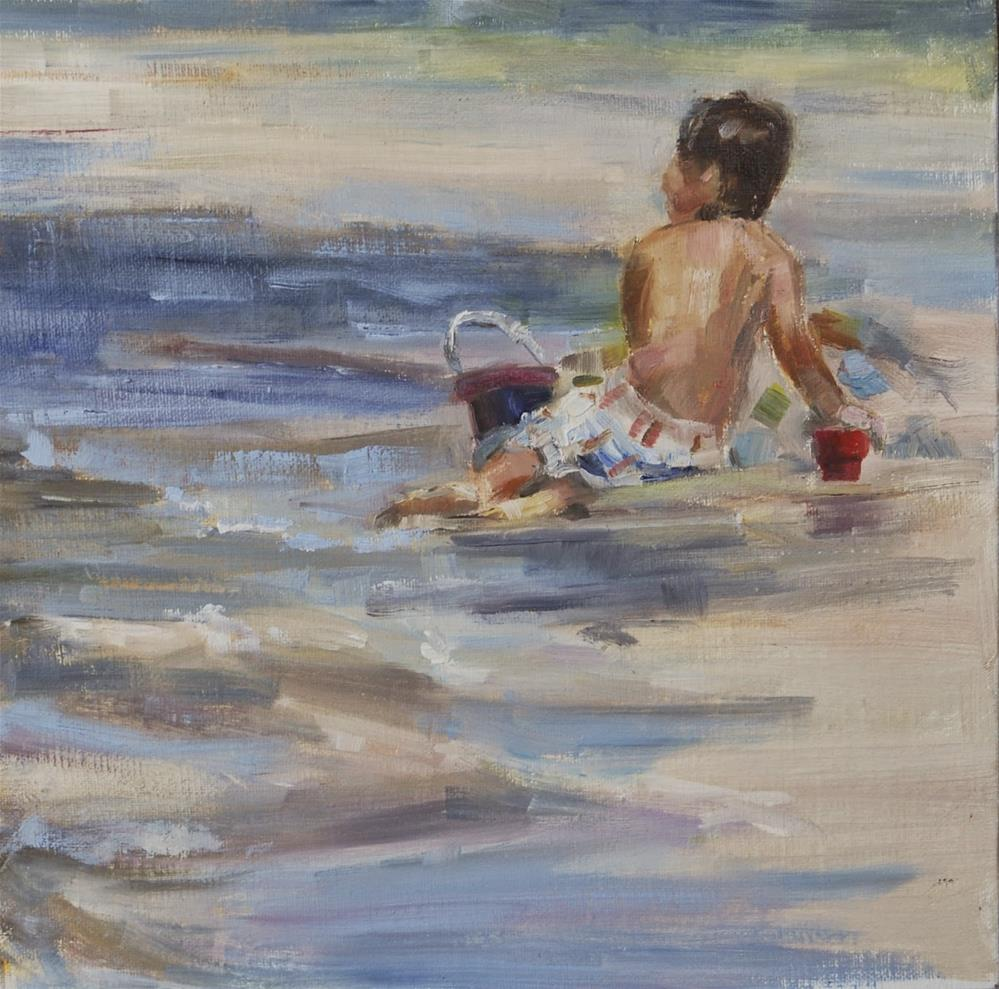 """Boy on the Beach, Original oil by Carol DeMumbrum"" original fine art by Carol DeMumbrum"