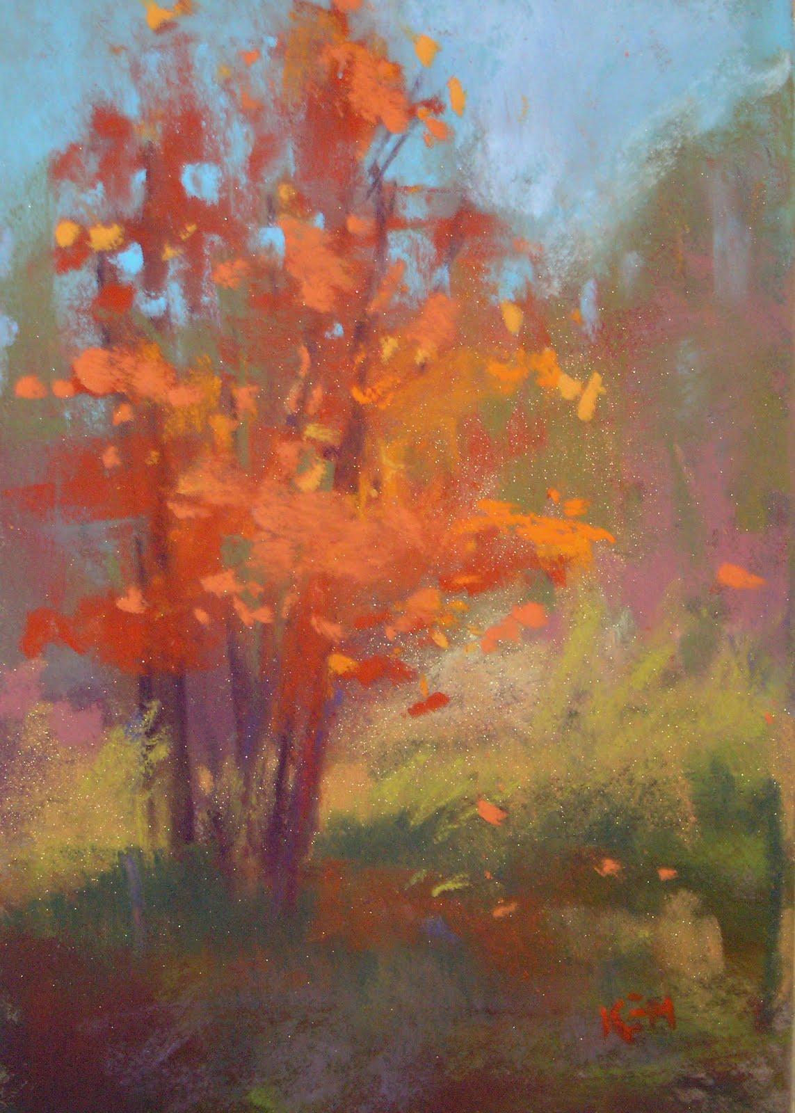 """""""Orange Tree Plein Air pastel  5x7"""" original fine art by Karen Margulis"""