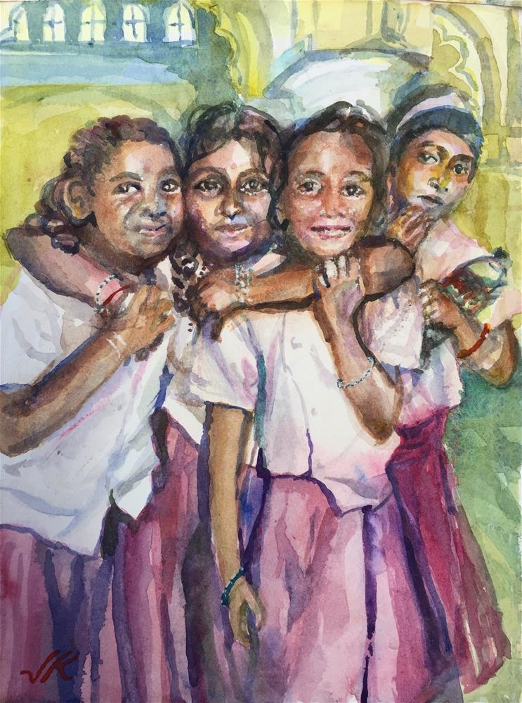 """Schoolgirls"" original fine art by Jean Krueger"