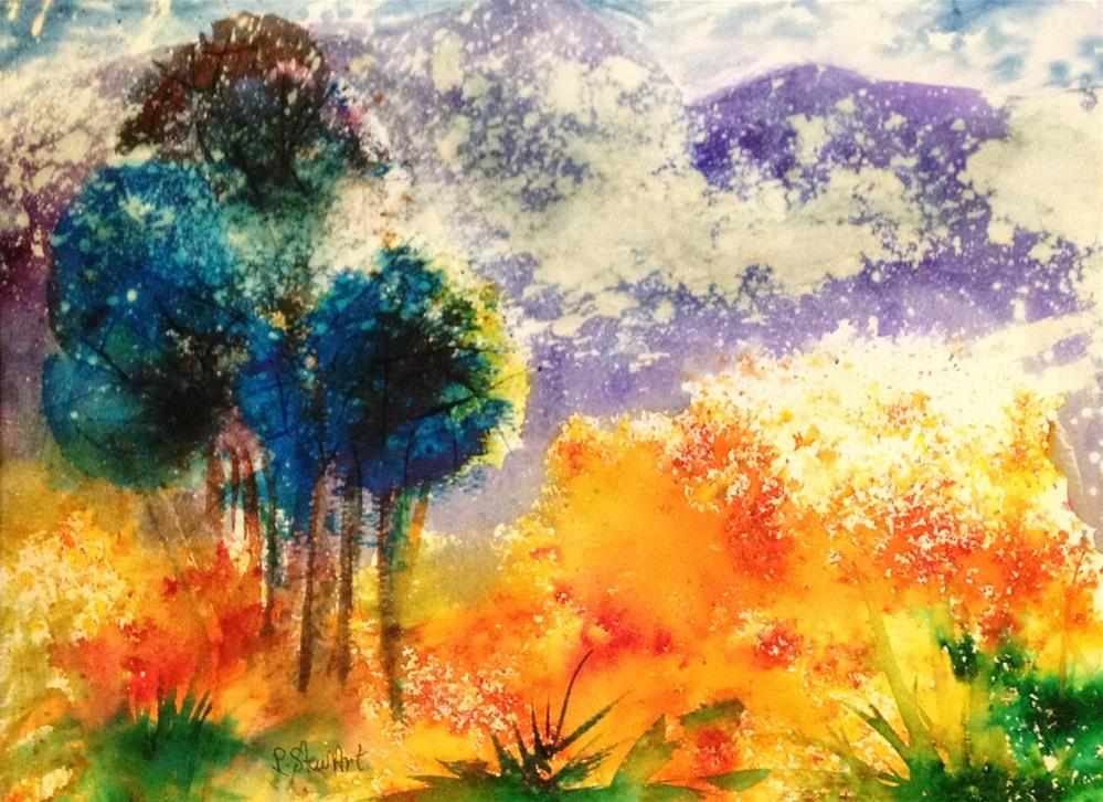 """""""11x14 Bold and Bright Abstract Landscape Colorful Impressionist Penny StewArt"""" original fine art by Penny Lee StewArt"""