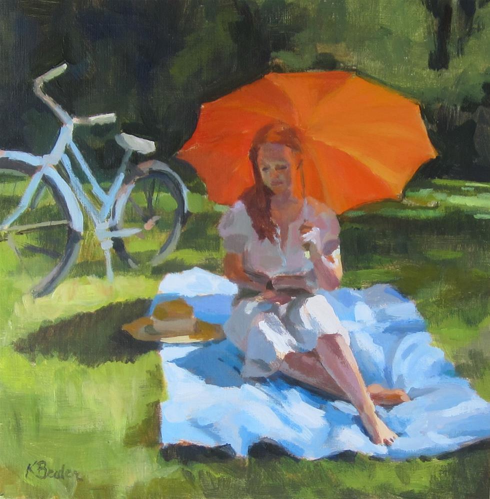 """Orange Umbrella"" original fine art by Kaethe Bealer"