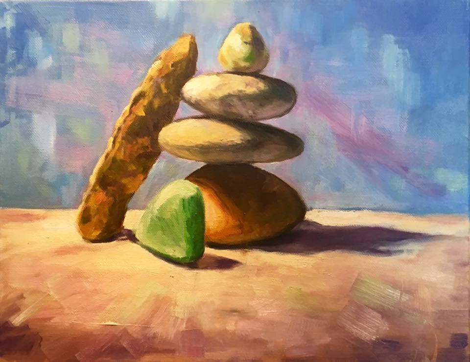 """Stacked Stones"" original fine art by Allison Doke"