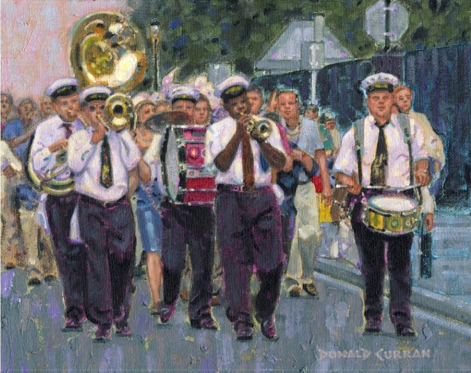 """New Orleans Street Band"" original fine art by Donald Curran"
