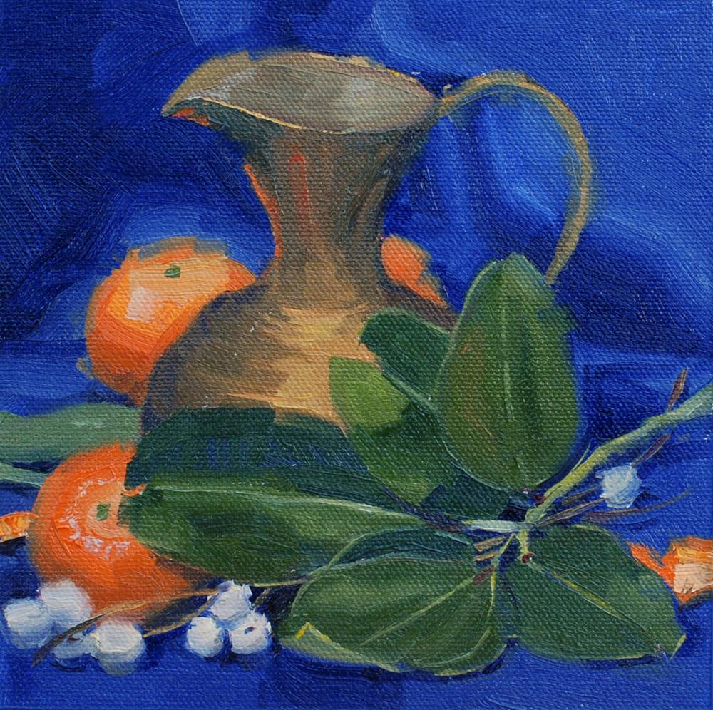"""""""Brass Pitcher with Snowberries and Madrone Leaves"""" original fine art by Susan McManamen"""