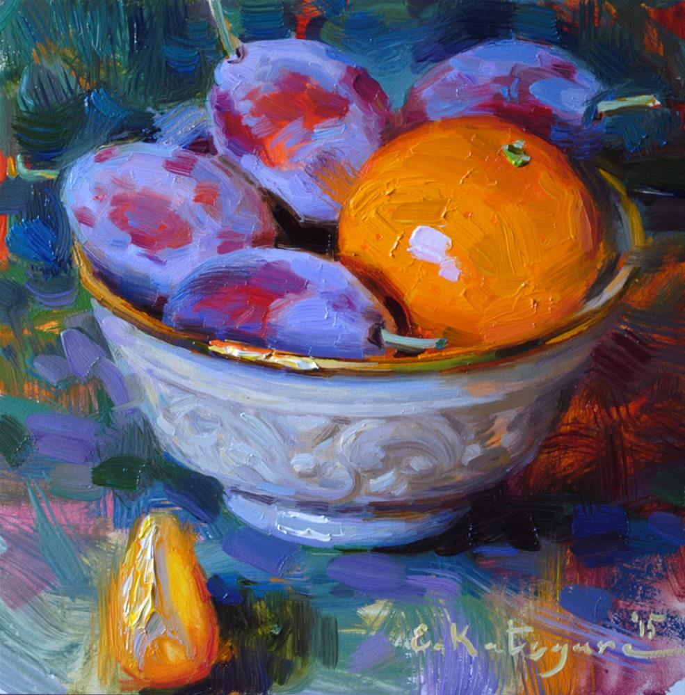 """Bowl of Plums + Mandarin"" original fine art by Elena Katsyura"