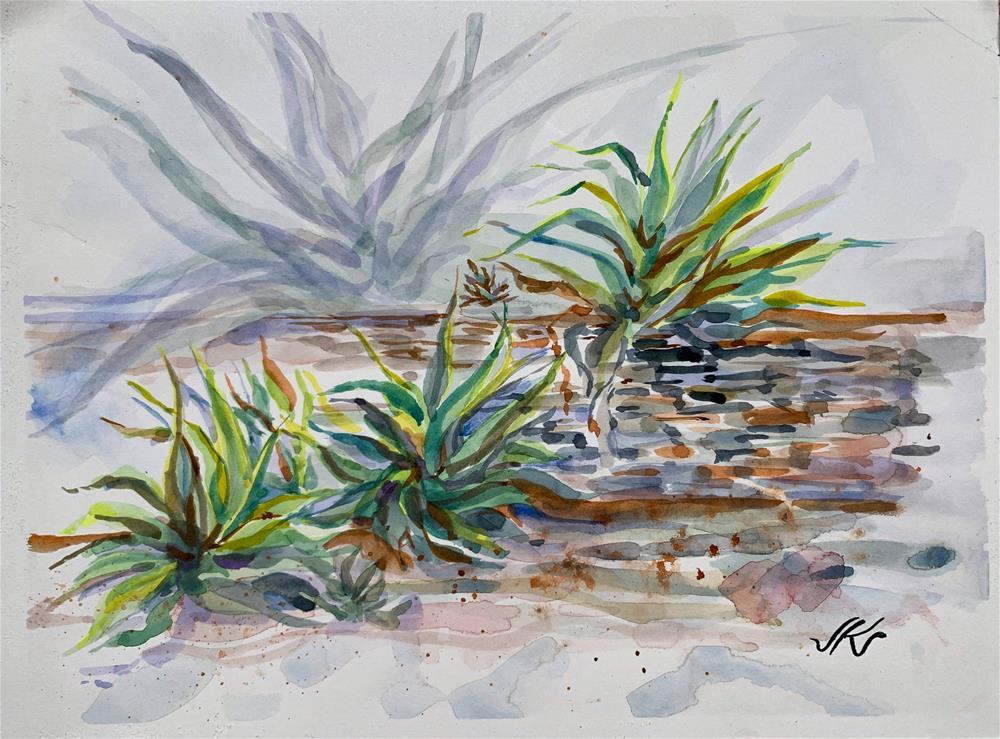 """Agaves en Plein Aire"" original fine art by Jean Krueger"