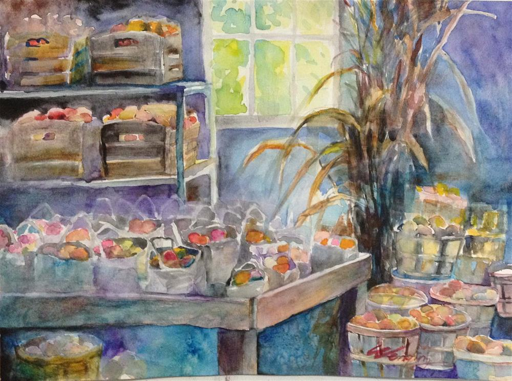 """fall,apple season"" original fine art by Wenqing Xu"