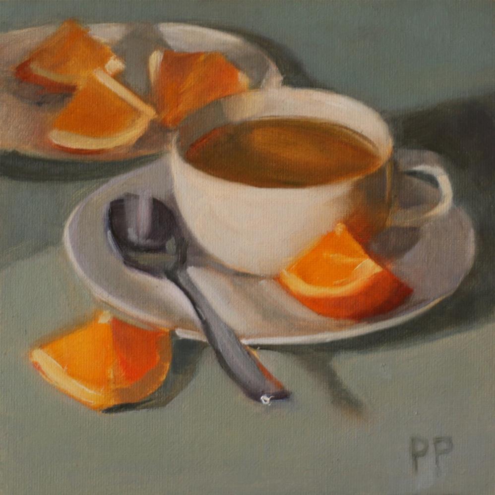 """""""Tea and Orange Slices (framed)"""" original fine art by Pamela Poll"""