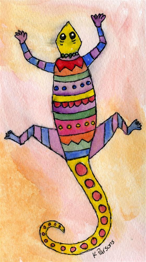 """Lone Lizard"" original fine art by Kali Parsons"