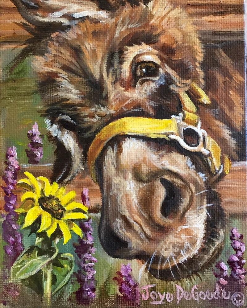"""Hellooooo Sunny (c) JoyEful Party Animals (TM)"" original fine art by Joye DeGoede"