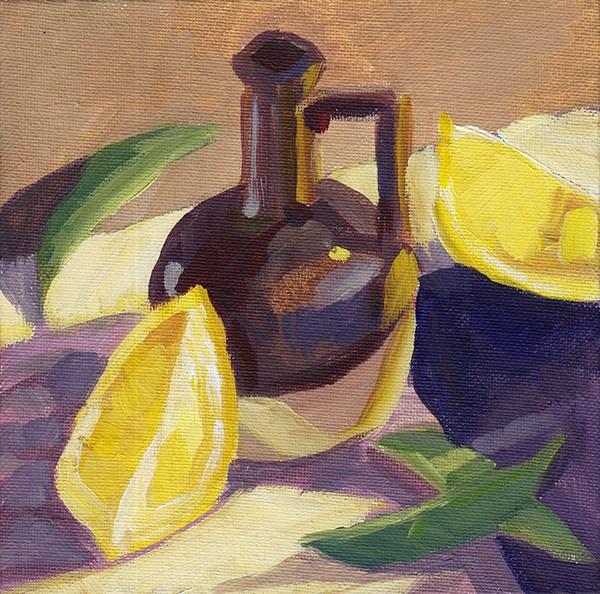 """Brown Vase in Evening Light"" original fine art by J M Needham"