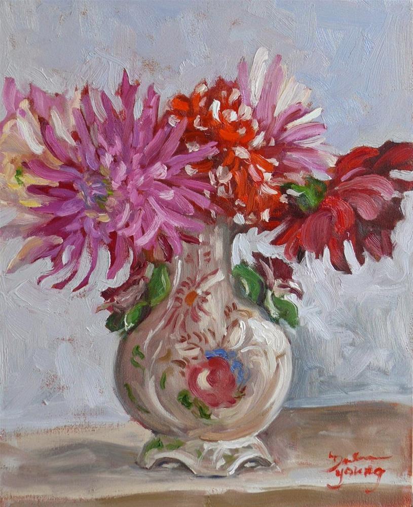 """769 Dahlias in Italian Vase"" original fine art by Darlene Young"