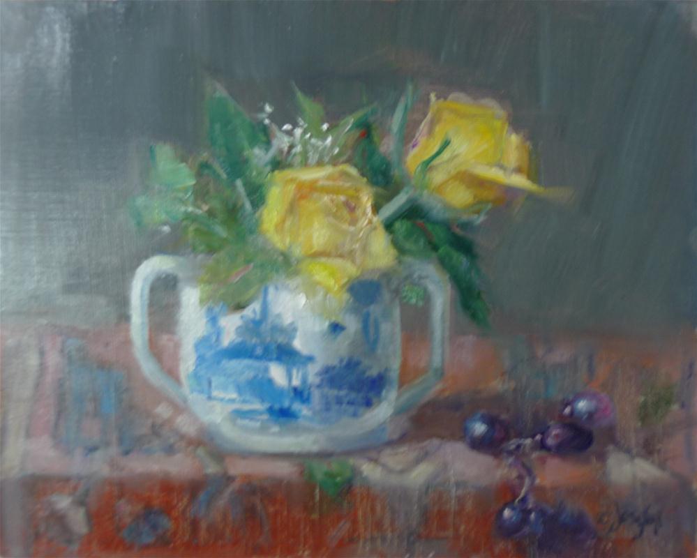 """Yellow Roses in Blue and White Sugar Bowl"" original fine art by Carol Josefiak"