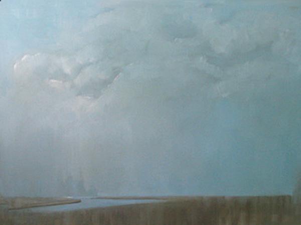 """Marsh - Blue Study"" original fine art by Donna Thomas"