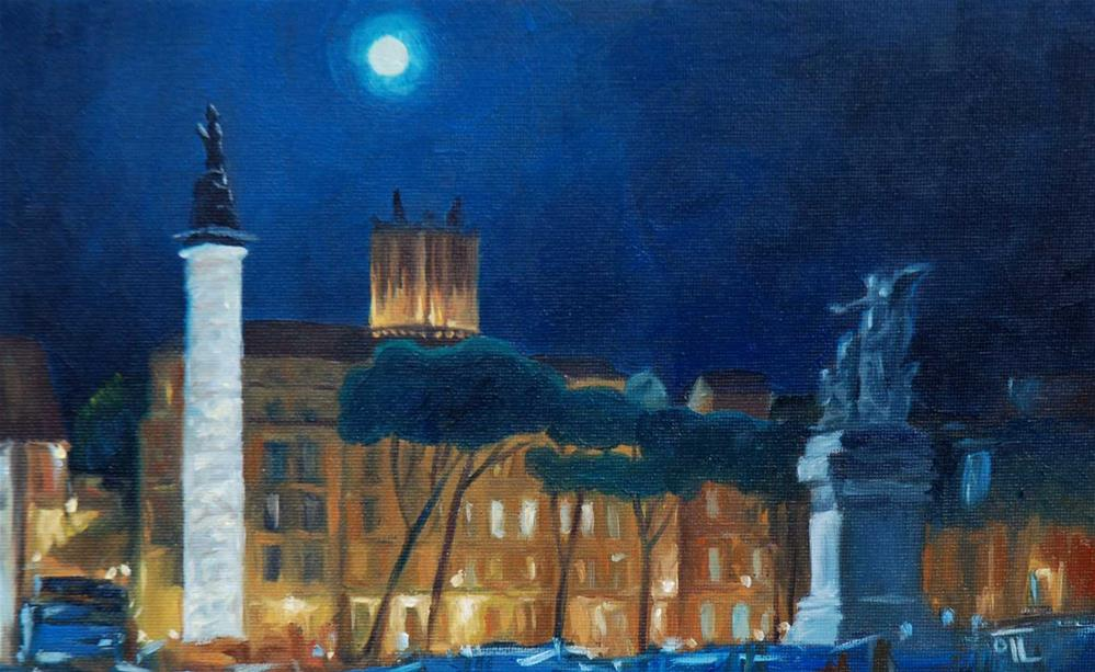 """DCS # 11 - From Roman vacations: Rome by night"" original fine art by Olga Touboltseva-Lefort"