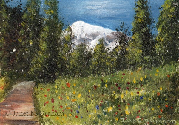 """""""Spring Mountain ACEO"""" original fine art by Janet Graham"""